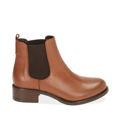 Chelsea boots cognac in pelle, tacco 4 cm , Valerio 1966, 18A5T0908PECOGN035, 001