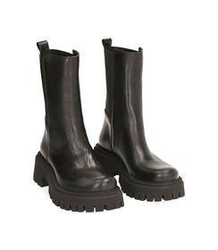 Ankle boots neri in pelle, tacco 5,5 cm , Valerio 1966, 1872T4401PENERO035, 002 preview