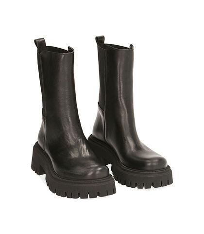 Ankle boots neri in pelle, tacco 5,5 cm , Valerio 1966, 1872T4401PENERO035, 002