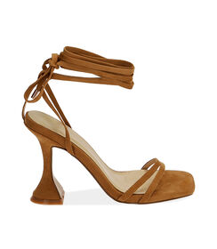 Sandali lace-up cognac in microfibra, tacco 10 cm , Valerio 1966, 1721T6413MFCOGN036, 001 preview