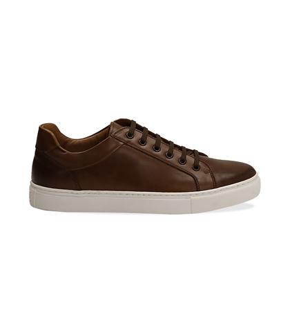 Sneakers testa di moro in pelle con suola bianca, UOMO, 1195T5735PEMORO040, 001
