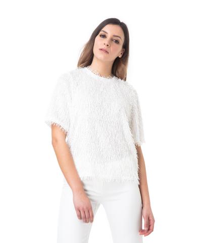 T-shirt bianca con tessuto a frange, Valerio 1966, 11F8T1780TSBIAN40, 002