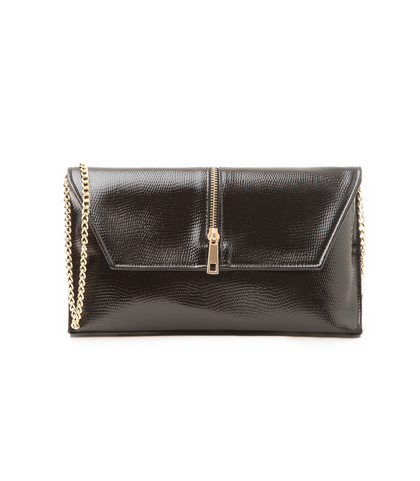 Pochette nera in eco-pelle con zip, Borse, 1366T6769EVNEROUNI, 001