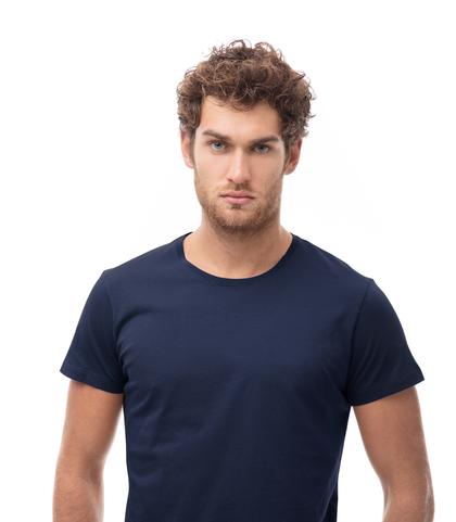 T-shirt girocollo blu in cotone, Abbigliamento, 13T6T3925TSBLUEL, 002
