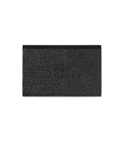 Portamonete nero in pelle con logo embossed, Accessori, 10A4T1000PENEROUNI, 002