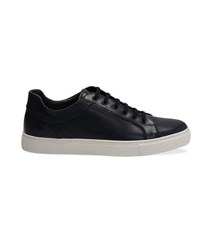 Sneakers blu in pelle con suola bianca, UOMO, 1195T5735PEBLUE040, 001