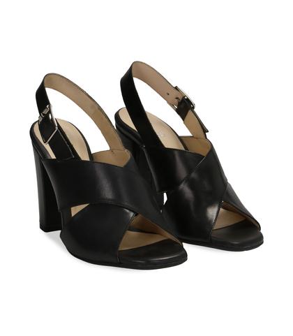 Sandali neri in pelle, DONNA, 11D6T1063VINERO036, 002