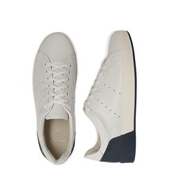 Sneakers bianche in pelle con tallone blu in camoscio, Scarpe, 1198T5841PEBIBL040, 003 preview