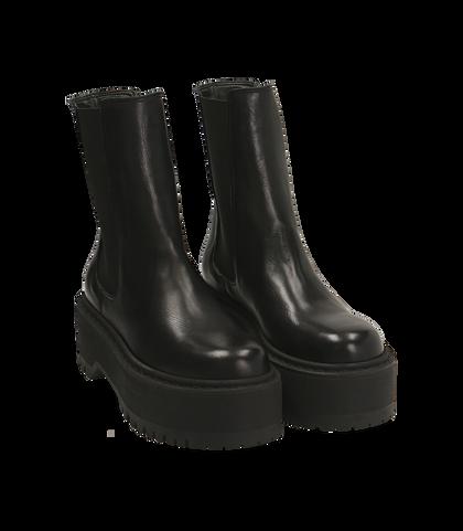 Chelsea boots platform neri in pelle di vitello , SALDI DONNA, 1689T8002VINERO035, 002