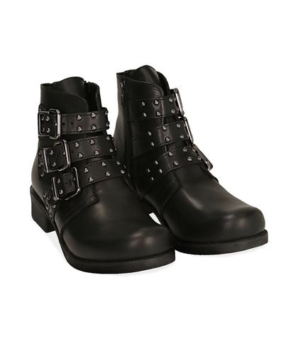Biker boots neri in pelle di vitello, Scarpe, 1007S0101VINERO035, 002