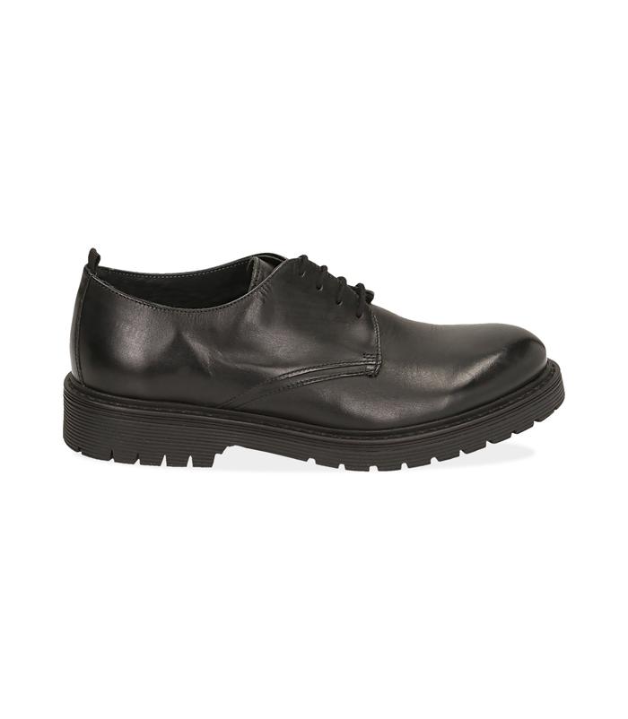 Stringate nere in pelleScarpe, 1277T9910PENERO040