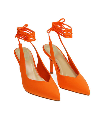 Slingback lace-up arancio in lycra, tacco 8,5 cm , Valerio 1966, 1721T6283LYARAN035, 002
