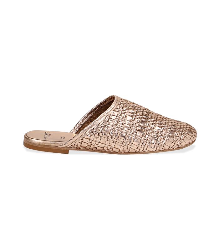 Mules oro rosa in laminato intrecciatoScarpe, 1162T0110LIROSA036