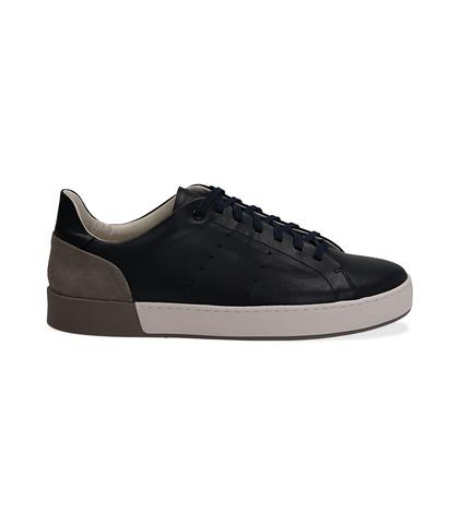 Sneakers blu in pelle con tallone grigio in camoscio, Scarpe, 1198T5841PEBLUE040, 001