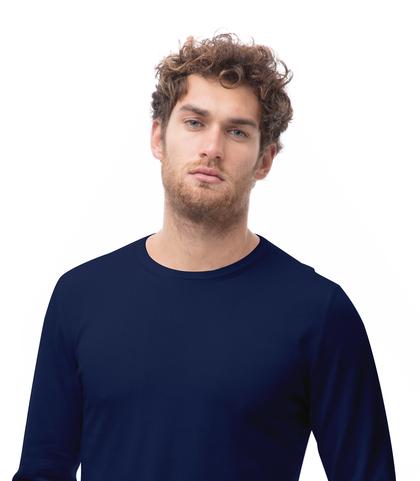 Maglia girocollo blu in cotone, Abbigliamento, 13T4T2000TSBLUE48, 002