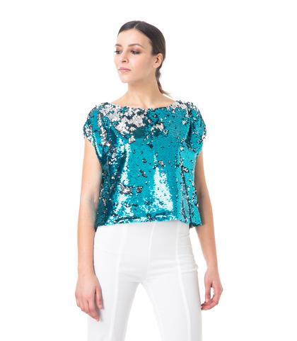 Top celeste in paillettes, Abbigliamento, 13T8T0030PLCELEL, 002