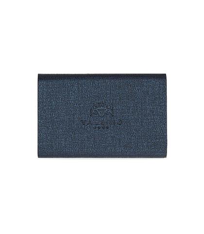 Portamonete blu in pelle con logo embossed, Accessori, 10A4T1000PEBLUEUNI, 002
