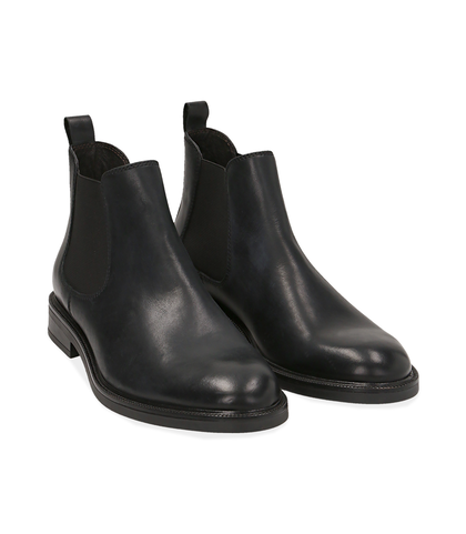 Chelsea boots neri in pelle di vitello, UOMO, 1677T0608VINERO039, 002