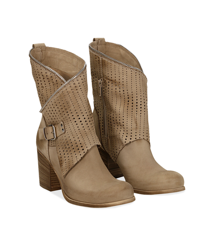 Ankle boots beige in nabuk con gambale traforato, tacco 7 cm, Valerio 1966, 1156T0308NBBEIG036, 002