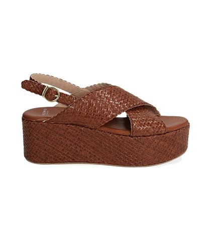 Sandalo con zeppa cuoio in pelle intrecciata, Valerio 1966, 1362T1904PICUOI, 001