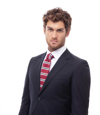 Cravatta bordeaux rigata in cotone con fondo dritto, Accessori, 11I9T0022TSBORDUNI, 002
