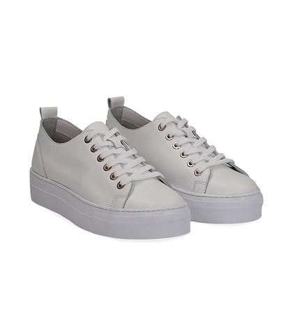 Sneakers bianco in pelle, Valerio 1966, 1577T0412PEBIAN035, 002
