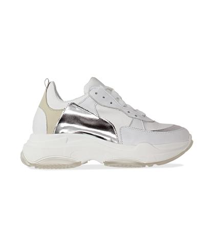 Dad shoes bianco/argento in pelle, Scarpe, 13A6T0999PEBIAR036, 001