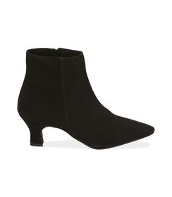 Ankle boots neri in camoscio con tacco a rocchetto, Scarpe, 1272T0154CMNERO036, 001 preview