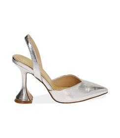 Slingback argento laminato, tacco 10 cm , Valerio 1966, 1721T0572LMARGE036, 001 preview