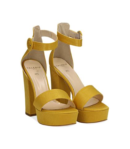 Sandali gialli in raso con plateau, tacco 13 cm, Scarpe, 13A4T7532RSGIAL036, 002