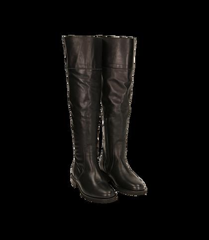 Stivali overknee neri in pelle di vitello , 1602T0300VINERO035, 002