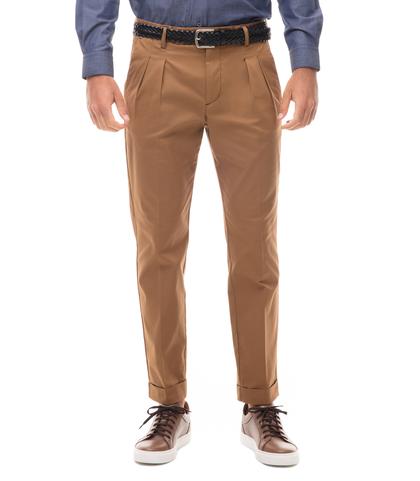 Pantaloni cuoio in twill con due pinces, Abbigliamento, 13T2T6100TSCUOI44, 001