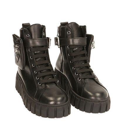 Sneakers nere in pelle, tacco 5 cm, Valerio 1966, 18L6T2008PENERO035, 002