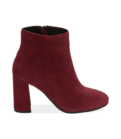 Ankle boots bordeaux in camoscio , Valerio 1966, 1095T0016CMBORD035, 001
