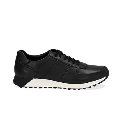 Sneakers nere in pelle con punta affusolata, UOMO, 1195T5688PENERO040, 001