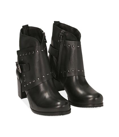 Ankle boots con borchie neri in pelle, Valerio 1966, 1007T5025PENERO035, 002