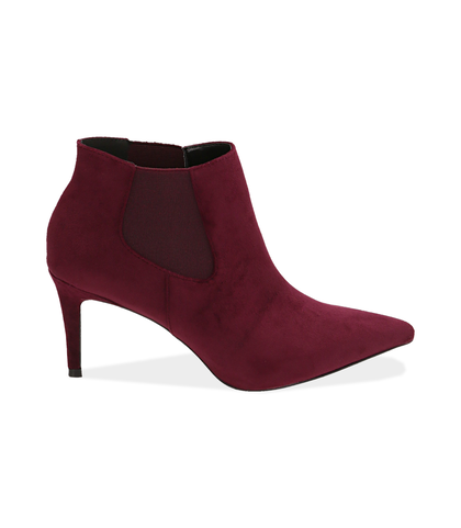 Ankle boots bordeaux in velluto , Scarpe, 1084T3175VLBORD035, 001