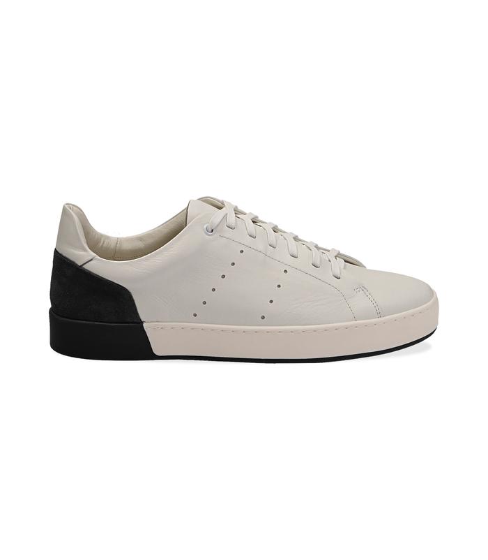 Sneakers bianche in pelle con tallone nero in camoscioUOMO, 1198T5841PEBINE040