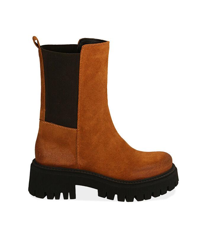 Chelsea boots cognac in camoscio, tacco 5,5 cm , Valerio 1966, 1872T4401CMCOGN036