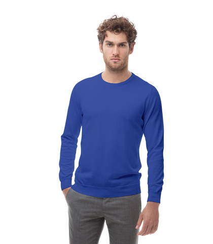 Maglia girocollo blu cobalto in cotone, Abbigliamento, 13T4T2000TSBLCO48, 001