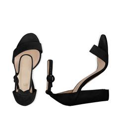 Sandali neri in camoscio, tacco a colonna 10,50 cm, DONNA, 13D6T0707CMNERO036, 003 preview