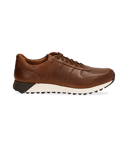 Sneakers marroni in pelle con punta affusolata, Scarpe, 1195T5688PEMARR040, 001