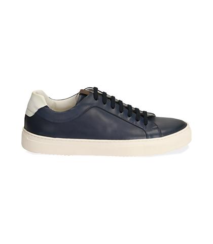 Sneakers blu/bianche in pelle, UOMO, 1598T6427PEBLBI039, 001