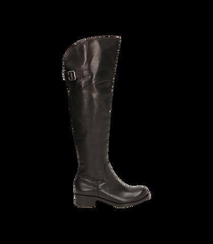 Stivali overknee neri in pelle di vitello, DONNA, 16A5T0150VINERO035, 001