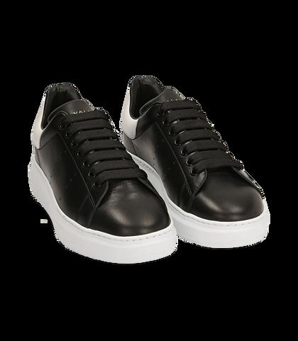 Sneakers nere in pelle, Valerio 1966, 1698T7603PENERO039, 002