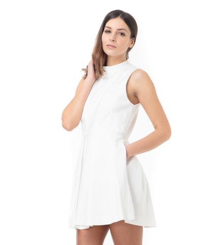 Abito bianco con scollatura a trapezio sul retro, Abbigliamento, 11F8T1014TSBIAN40, 002