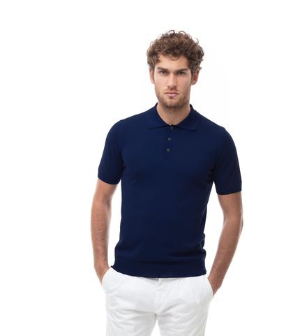 Polo basic blu in cotone, Abbigliamento, 13T4T2003TSBLUE48, 001