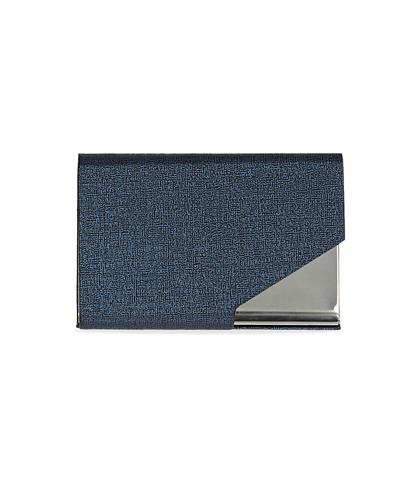 Portamonete blu in pelle con logo embossed, Accessori, 10A4T1000PEBLUEUNI, 001