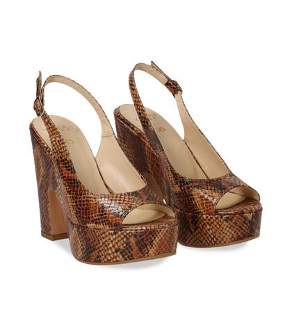 Sandali cuoio in eco-pelle, effetto snake skin, tacco-zeppa, DONNA, 13A5T0700PTCUOI035, 002