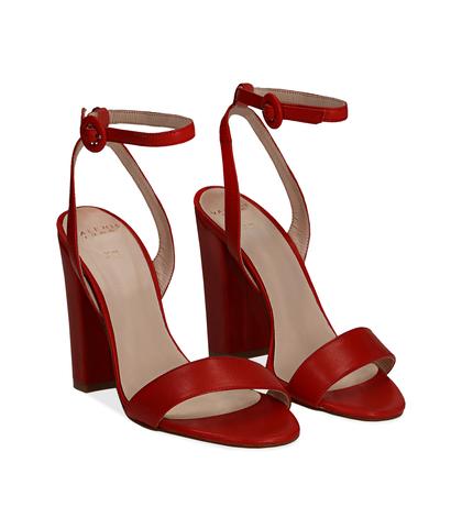 Sandali rossi in vitello, tacco a colonna 11 cm, Scarpe, 13D6T0703VIROSS036, 002
